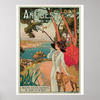 Vintage Reiseanzeige Antibes Frankreich Poster