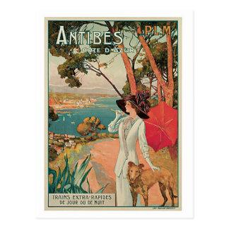 Vintage Reiseanzeige Antibes Frankreich Postkarte