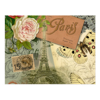 Vintage Reisecollage Eiffel-Turm-Paris Frankreich Postkarten