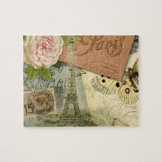 Vintage Reisecollage Eiffel-Turm-Paris Frankreich Puzzle