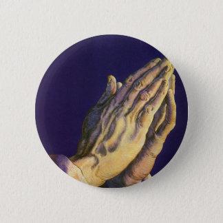 Vintage Religion, Hände, die in Richtung zum Runder Button 5,7 Cm