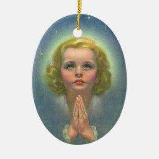 Vintage Religion, himmlisches Mädchen mit dem Keramik Ornament