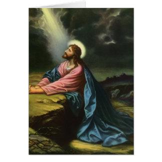 Vintage Religion Jesus betender Christus Gethsem Grußkarten