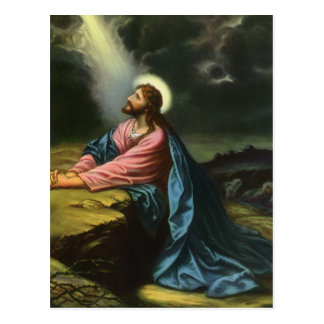 Vintage Religion Jesus betender Christus Postkarte