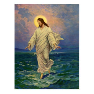 Vintage Religion, Jesus Christus geht auf Wasser Postkarte