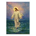 Vintage Religion, Jesus, der auf Wasser-Porträt Ankündigungskarte