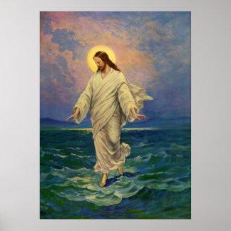 Vintage Religion Jesus der auf Wasser-Porträt ge Plakate