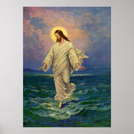 Vintage Religion, Jesus, der auf Wasser-Porträt ge Plakate