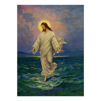Vintage Religion, Jesus-Porträt, das auf Wasser Poster