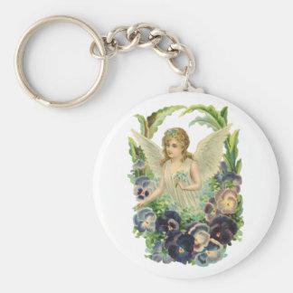 Vintage Religion, lila Pansy-Blumen-Ostern-Engel Schlüsselanhänger