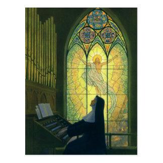 Vintage Religion, Nonne, die ein Organ in der Postkarte