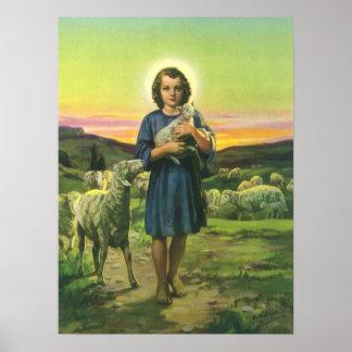 Vintage Religion, Schäfer-Junge mit Baby-Lämmern Poster