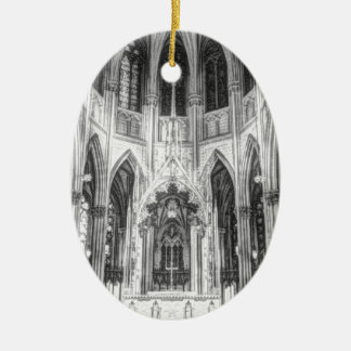 Vintage religiöse gotische Kathedrale der Ovales Keramik Ornament