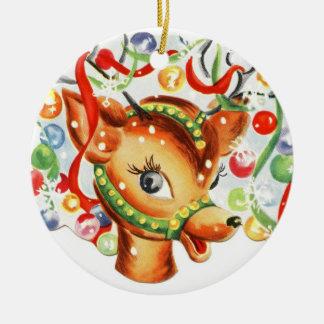 Vintage Ren-Keramik-Weihnachtsverzierung Rundes Keramik Ornament