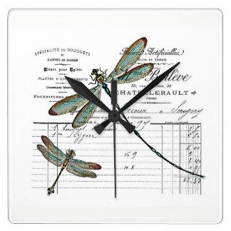Vintage, Retro Design Frankreich - Libelle, Insekt Quadratische Wanduhr