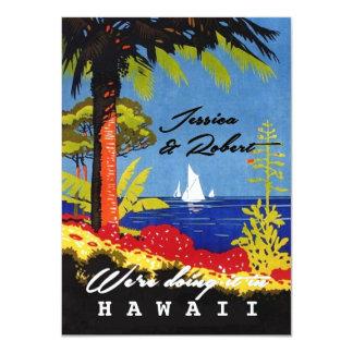Vintage Retro exotische Insel-Strand-Hochzeit 11,4 X 15,9 Cm Einladungskarte