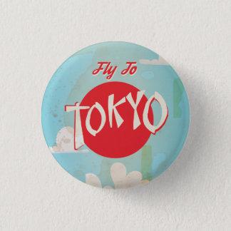 Vintage Retro Fliege zum Tokyo-Reisedruck Runder Button 2,5 Cm