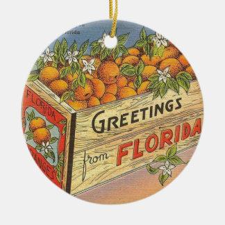 Vintage Retro Florida-Orangen Keramik Ornament