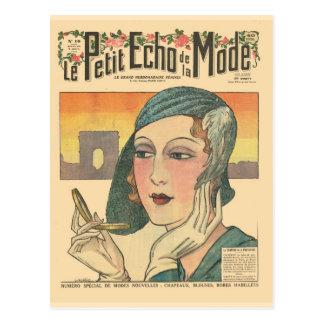 Vintage, retro französische Mode, Abdeckung Echo Postkarte