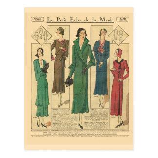 Vintage, retro französische Mode, Tagesabnutzung Postkarte