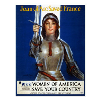 Vintage Retro Frauen Jeanne d'Arc Frankreich Postkarte