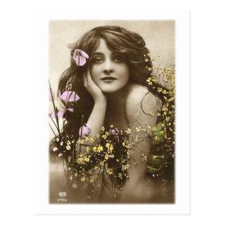 Vintage Retro Frauen-viktorianisches Blumen-Mädche Postkarte
