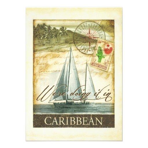 Vintage Retro karibische Wedding Cayman Islands Einladungen