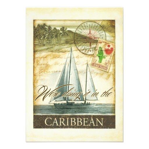 Vintage Retro karibische Wedding Cayman Islands Einladung