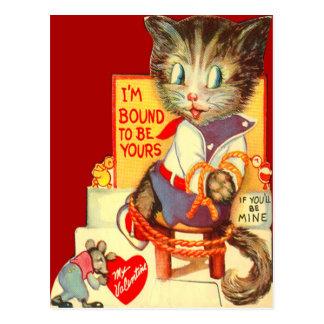 Vintage Retro Katze entführte Valentine-Karte Postkarten