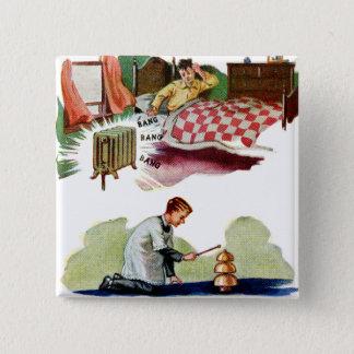 Vintage Retro Kitsch-Höllen Bell ändern Quadratischer Button 5,1 Cm