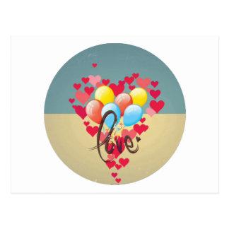 Vintage Retro Liebe-Herzenlustige Postkarte