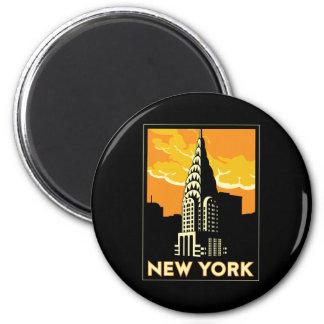Vintage retro Reise New York Vereinigte Staaten US Runder Magnet 5,1 Cm