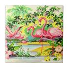 Vintage Retro rosa Flamingo-Vögel, die Fliese sich