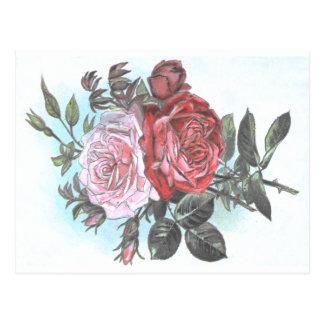 Vintage Retro Rosen-Postkarte