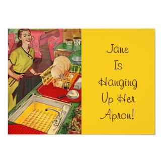 Vintage Retro Ruhestands-Einladungen, die Schürze 11,4 X 15,9 Cm Einladungskarte