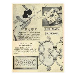 Vintage, retro Stickereimuster und Techniken Postkarte