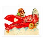 Vintage Retro Valentine-Spitze des Weltflugzeuges Postkarten