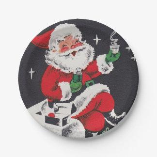 Vintage retro Weihnachtskakao Sankt-Partyplatte Pappteller