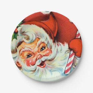 Vintage Retro Weihnachtssankt-Partyplatte Pappteller