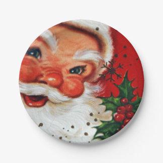 Vintage retro Weihnachtssankt-Ren-Partyplatte Pappteller