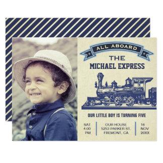 Vintage Retro Zug-Kindergeburtstag-Party Einladung