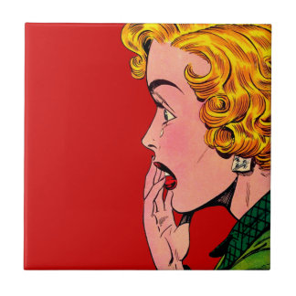 Vintage Romance Roman-Mädchen-Comic-Kunst Kleine Quadratische Fliese