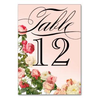 Vintage Romance rosa Rosen-mit BlumenTischnummern Karte