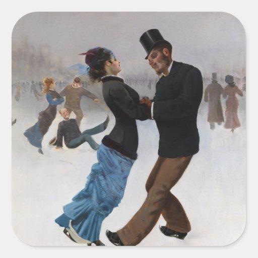 Vintage romantische Eis-Skater Quadratsticker