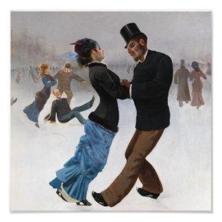 Vintage romantische Eis-Skater Kunst Photo