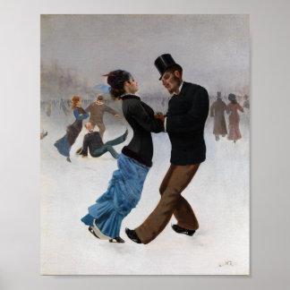 Vintage romantische Eis-Skater Poster