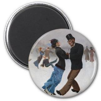 Vintage romantische Eis-Skater Runder Magnet 5,7 Cm