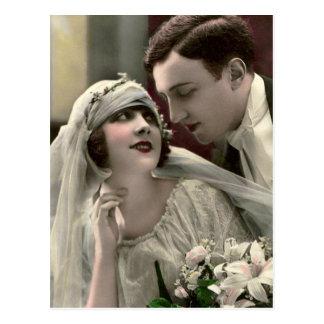 Vintage romantische Hochzeit Postkarte