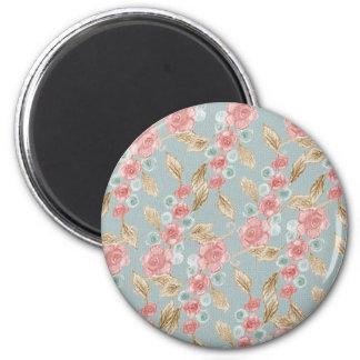 Vintage, romantische Rosen-Blumen Runder Magnet 5,1 Cm