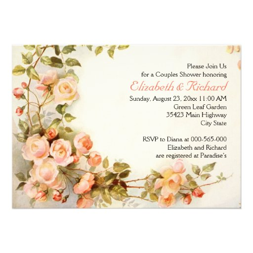 Vintage romantische Rosen, die Paardusche wedding Einladungskarte